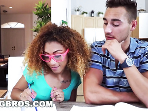 Curly black girl Kendall Woods seduces and fucks her young nerd tutor