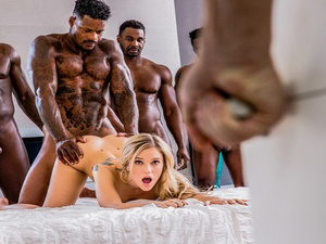Petite skinny blonde Kali Rose is experiencing interracial gangbang fuck