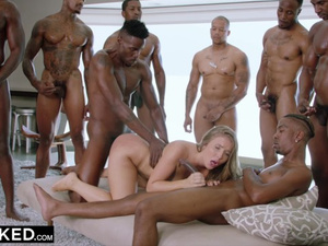 Skinny young blonde babe Lena Paul is being roughly drilled by group of black fuckers