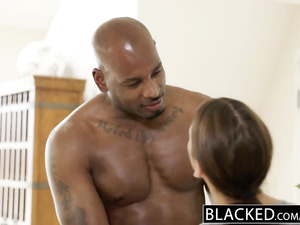 Gorgeous hot Adriana Chechick is excitingly fucking with strong black guy