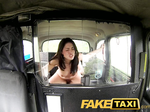 Teen brunette gets tricked by fake cab driver and fucked on backseat