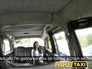Excitingly sexy dress busty brunette gets fucked hard by fake taxi driver