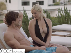 Naughty young blonde with impressive hot boobs seduced sister's boyfriend