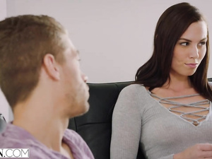horny brunette chick covets to stepbrother and fucks him hard