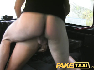 Brunette with big fake boobs sucks big dick and fuck hard in cab