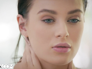 Beautiful Lana Rhoades gets out of the pool and does awesome blowjob