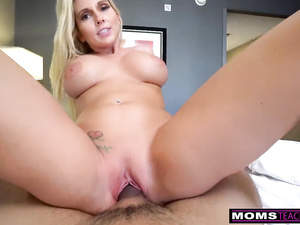 Fuck hungry dude is fucking his hot blonde stepmom and recording POV porn video