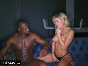 Skinny blonde with big fake tits Jessa Rhodes enjoys hardcore interracial fuck