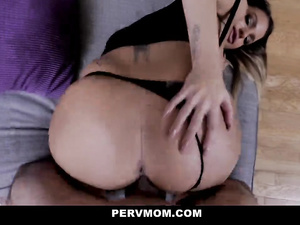 Lustful blonde milf with big fake tits is sucking stepson's cock and rides it