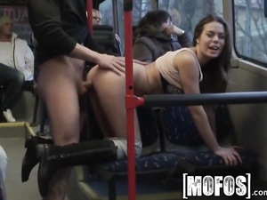 Beautiful young brunette Bonnie Shai got passionately fucked in the buss