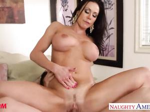 Beautiful brunette Kendra Lust is doing deepthroat blowjob before getting fucked hard