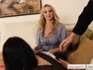 Hungry milf babes Brandi Love, Eva Karera and Julia Ann are sharing one young cock